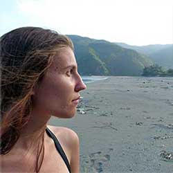 Sandra from france enjoying Amami secluded beach and nature